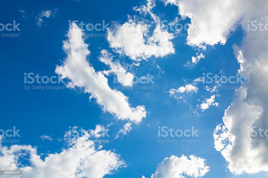 Cloud in blue sky vector art illustration