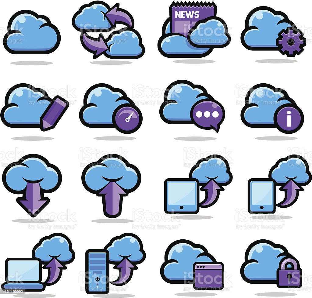 Cloud Network Icon Set royalty-free stock vector art