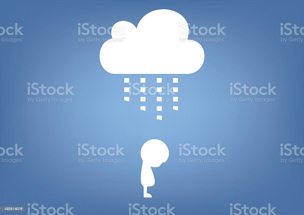 cloud raining on person illustration vector art illustration