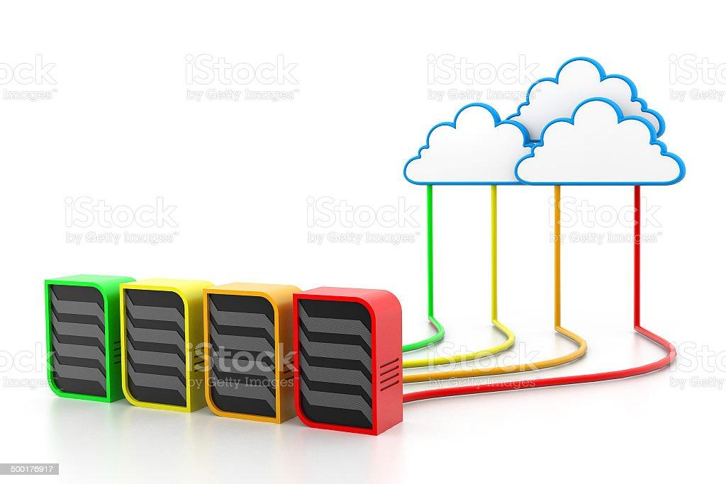 Cloud servers vector art illustration