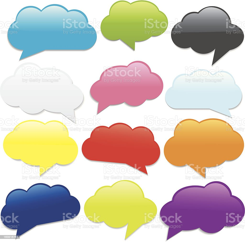 Cloud Shaped Speech Bubbles vector art illustration