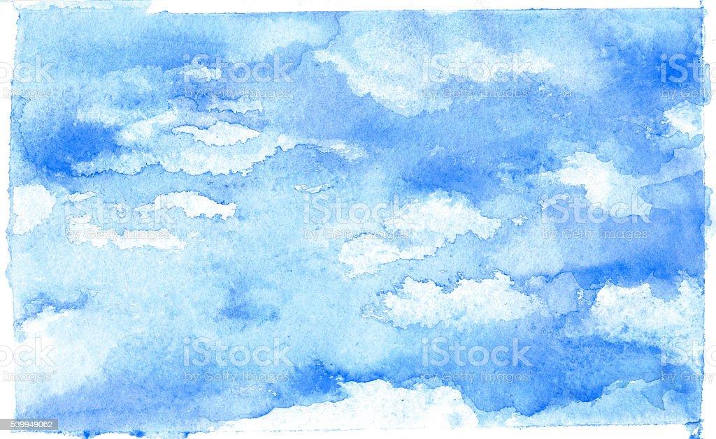 Cloud, watercolor vector art illustration