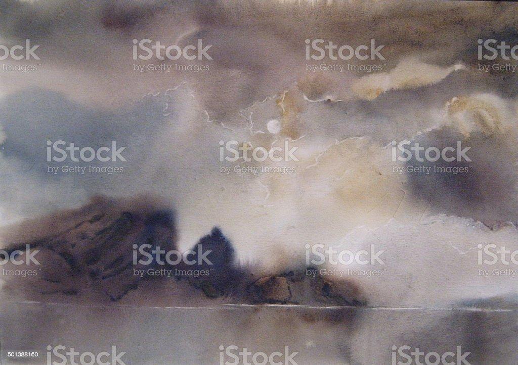 Nuvole, nebbia sopra il lago, acquerello illustrazione royalty-free