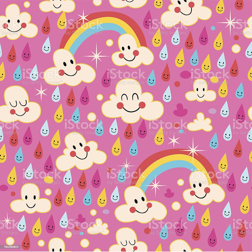 clouds, rainbows, rain drops pattern royalty-free stock vector art