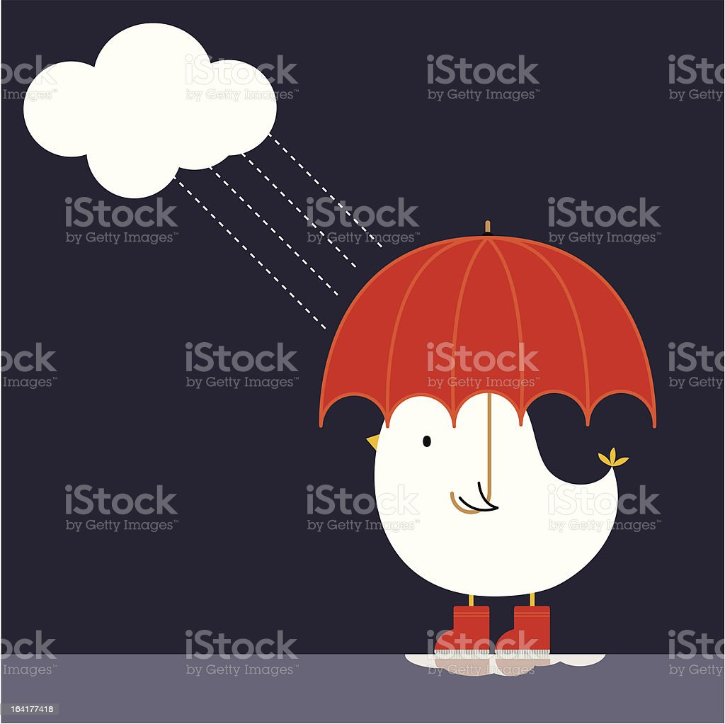 Cloudy Day Red Welly Birdy royalty-free stock vector art