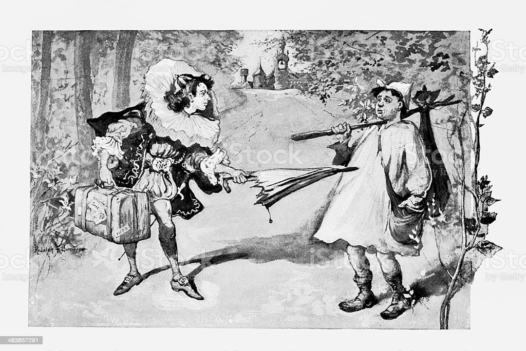 Clown And Peasant vector art illustration