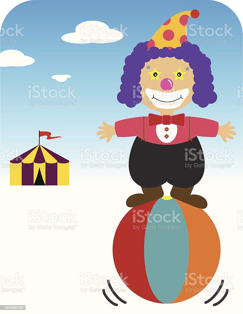 Clown balancing on ball royalty-free stock vector art