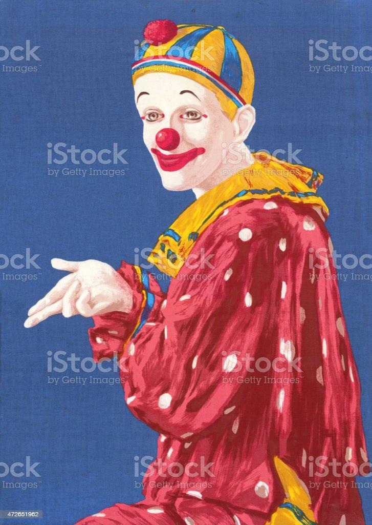 Clown Gesturing vector art illustration