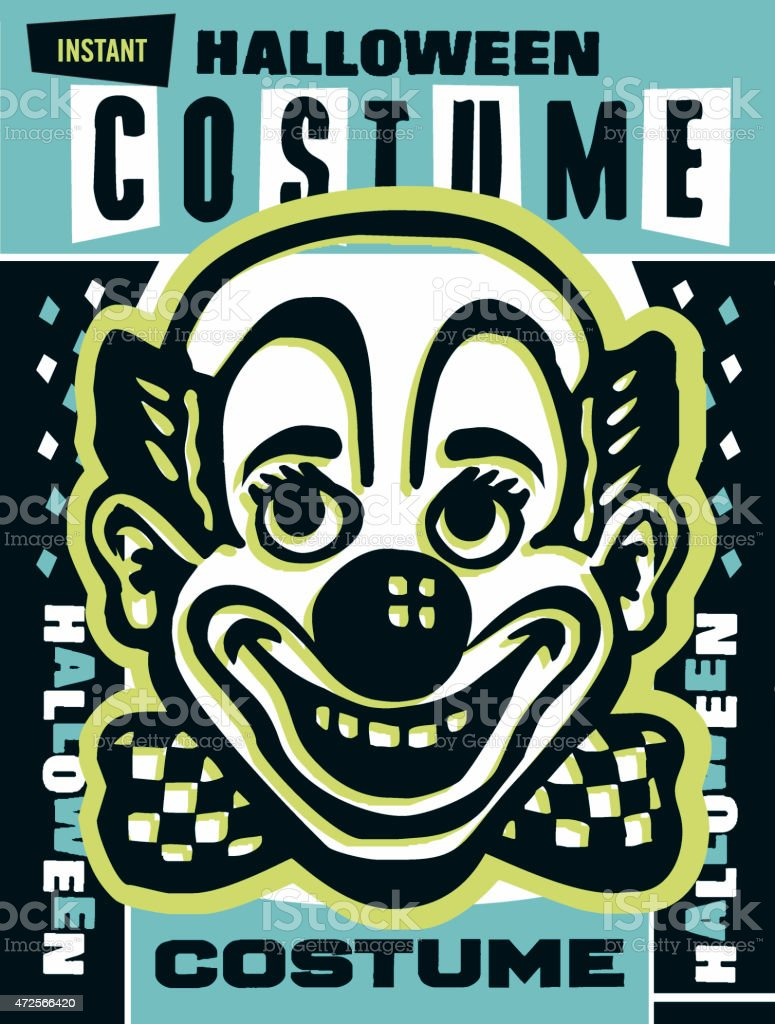 Clown Halloween costume vector art illustration