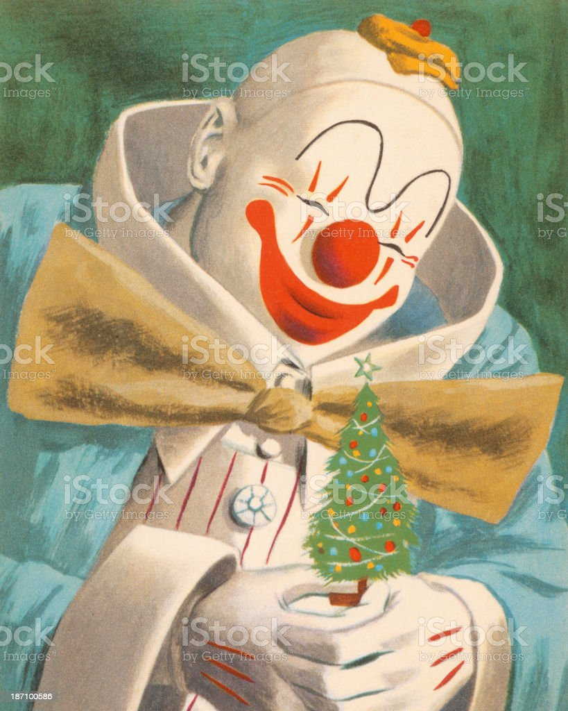 Clown Holding a Little Christmas Tree vector art illustration