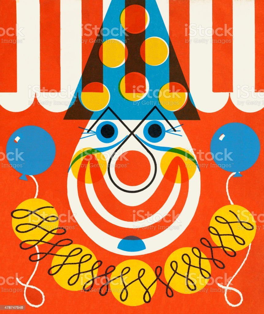 Clown Holding Two Balloons vector art illustration