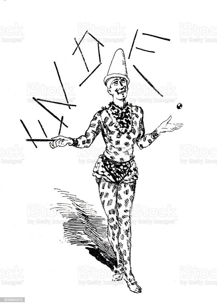 Clown juggling with the letters E, N, D, E, full length, white background vector art illustration
