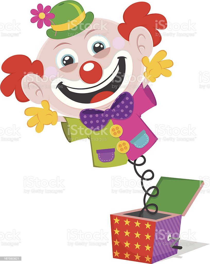 Clown pops out of a box vector art illustration