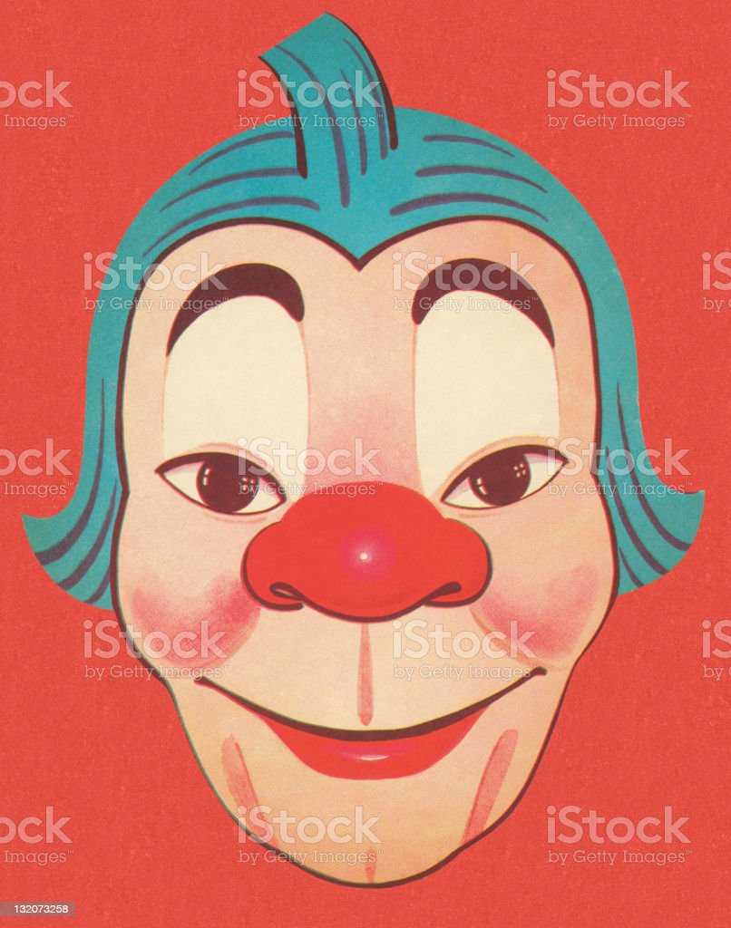 Clown With Blue Hair and Red Nose royalty-free stock vector art