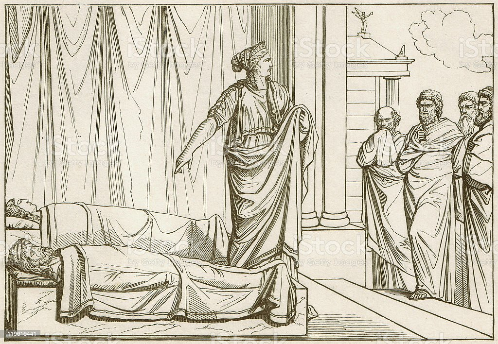 Clytemnestra in front of the corpse of Agamemnon and Cassandra royalty-free stock vector art