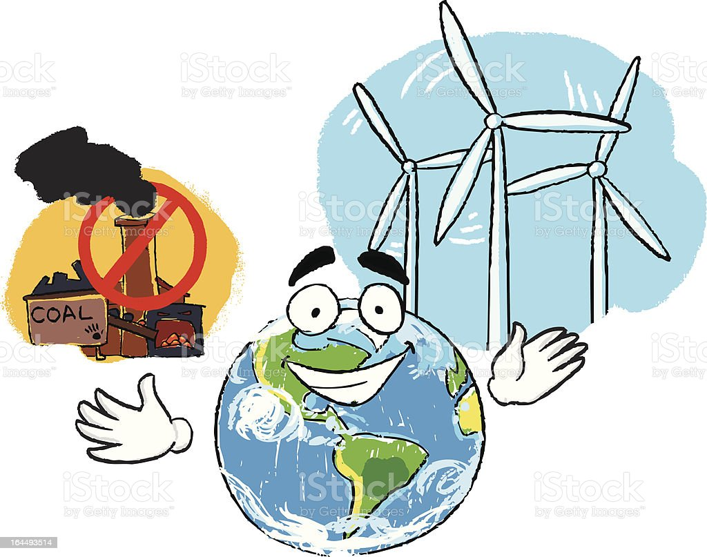 Coal plant and windmill vector art illustration