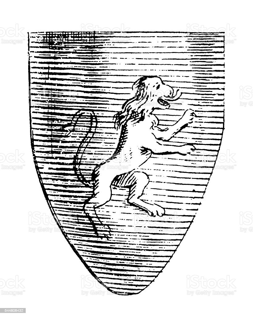 Coat of arms (antique engraving) stock photo