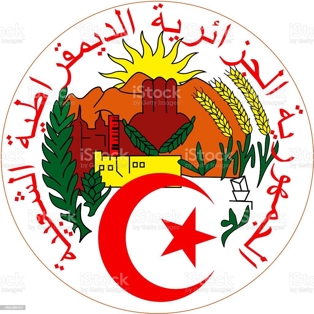 Coat of arms of Algeria vector art illustration
