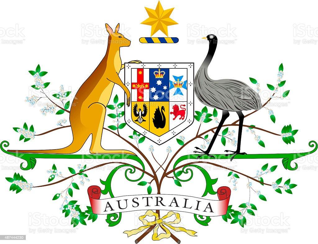 Coat of arms of Australia vector art illustration