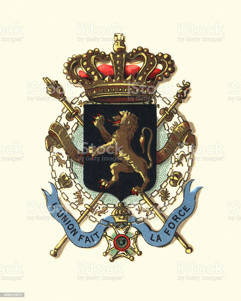 Coat of Arms of Belguim, 1894 vector art illustration