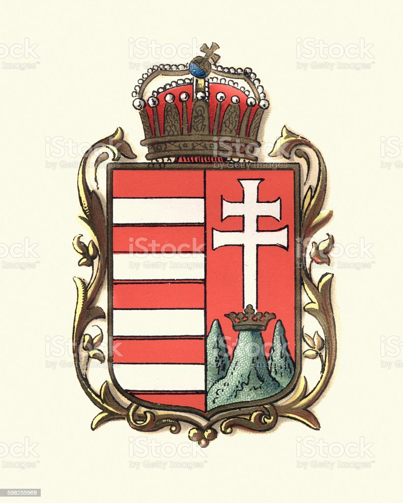 Coat of Arms of Hungary, 1898 vector art illustration