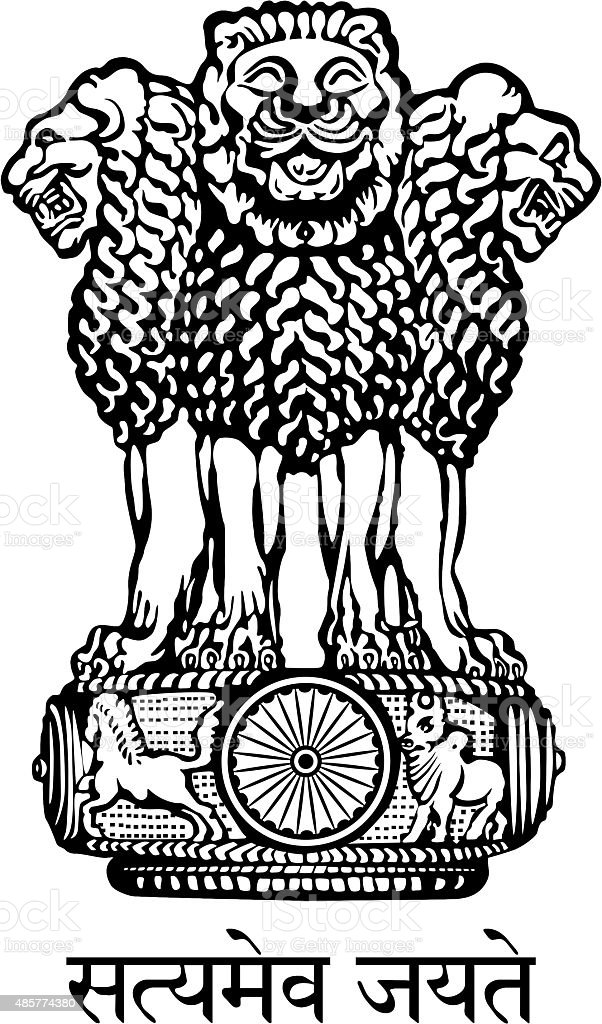 Coat of arms of India vector art illustration