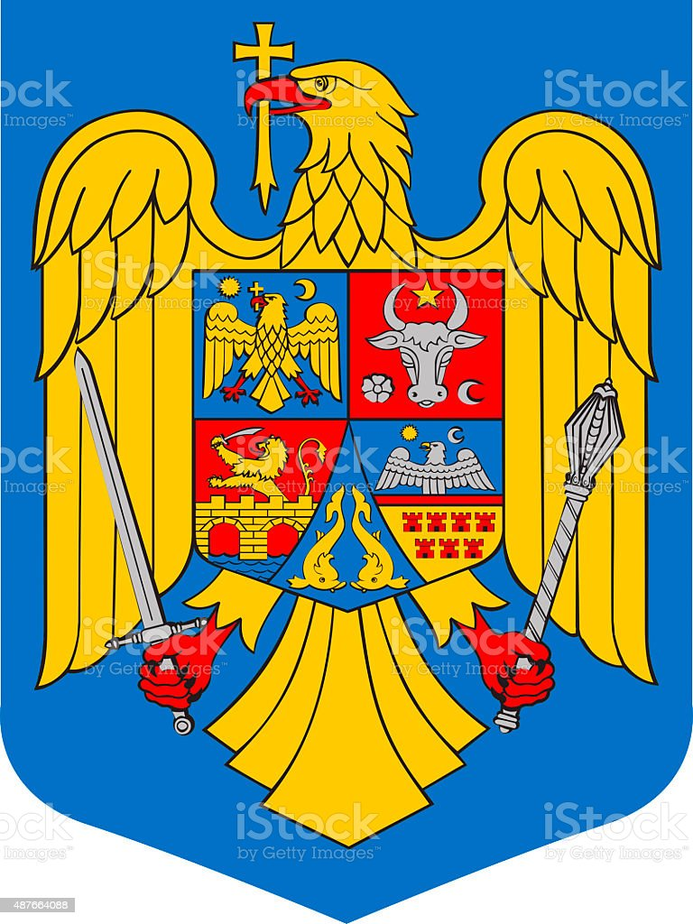 Coat of arms of Romania vector art illustration