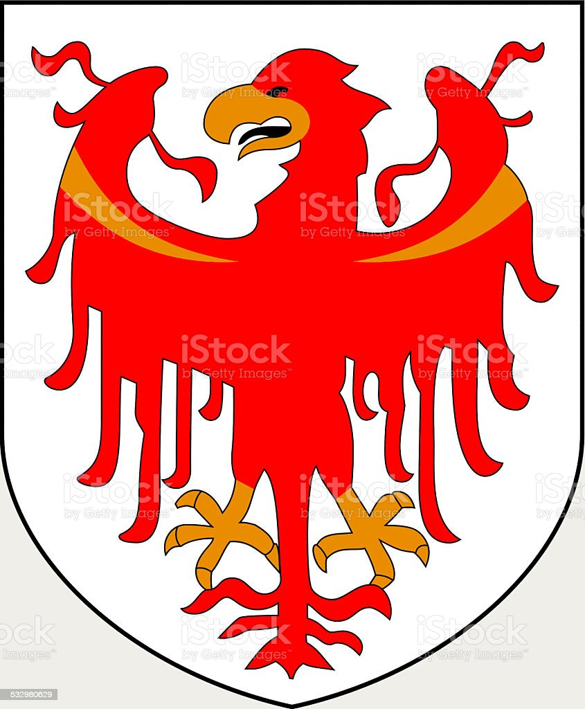 Coat of arms of South Tyrol vector art illustration