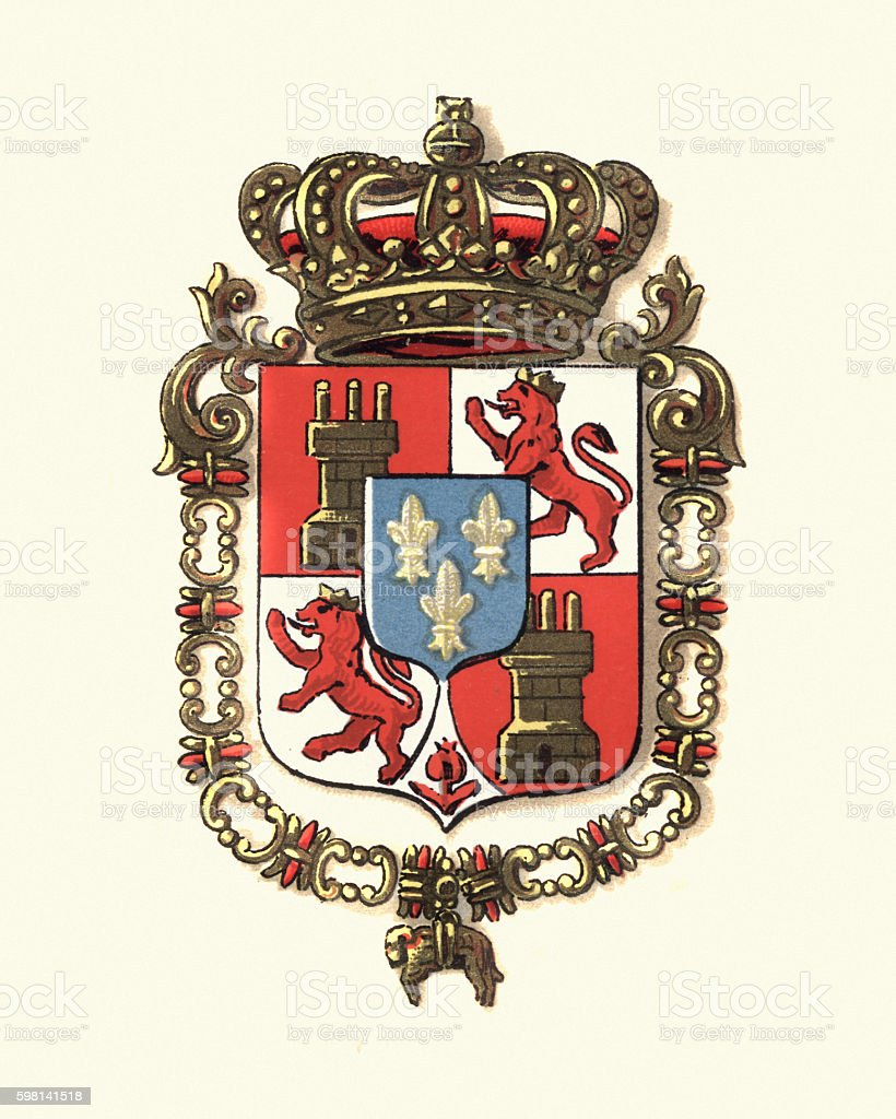 Coat of Arms of Spain, 1898 vector art illustration