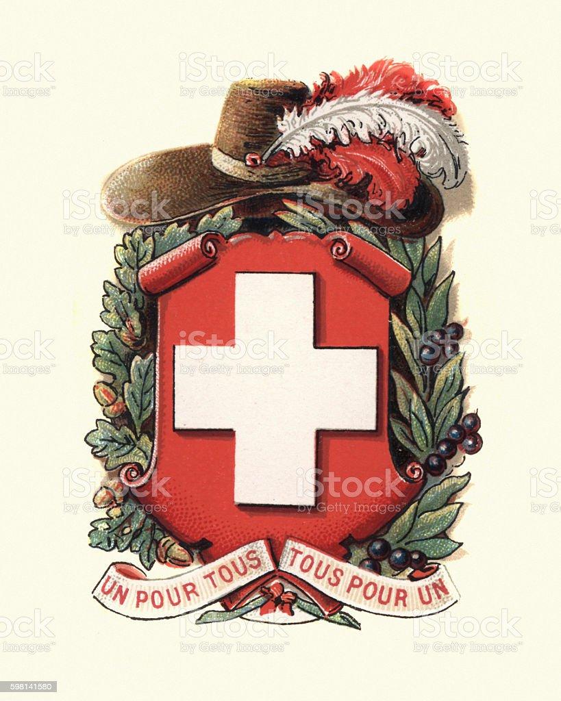 Coat of Arms of Switzerland, 1898 vector art illustration