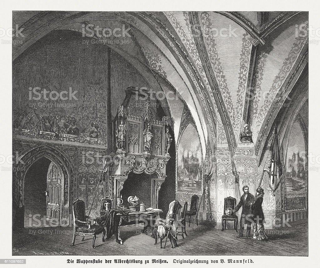 Coat of Arms Room, Albrechtsburg, Meissen, Germany, published in 1882 vector art illustration
