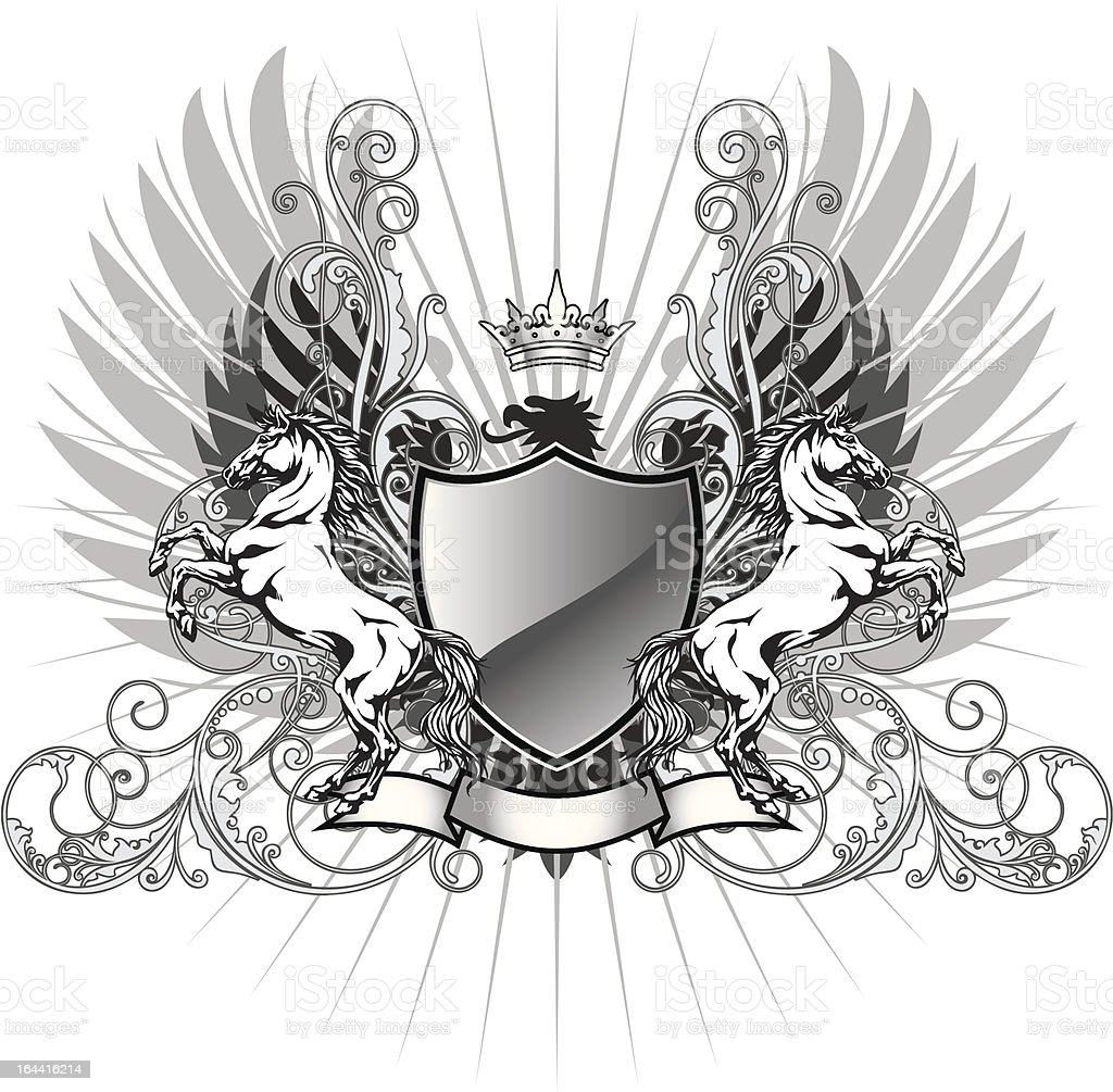 Coat of arms with horse royalty-free stock vector art