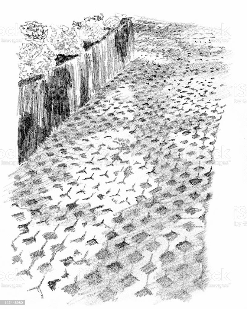 Cobblestone Path Sketch vector art illustration