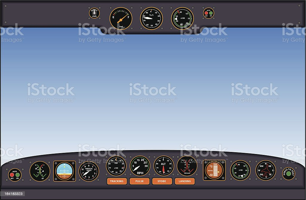 cockpit instrument panel - vector illustration vector art illustration