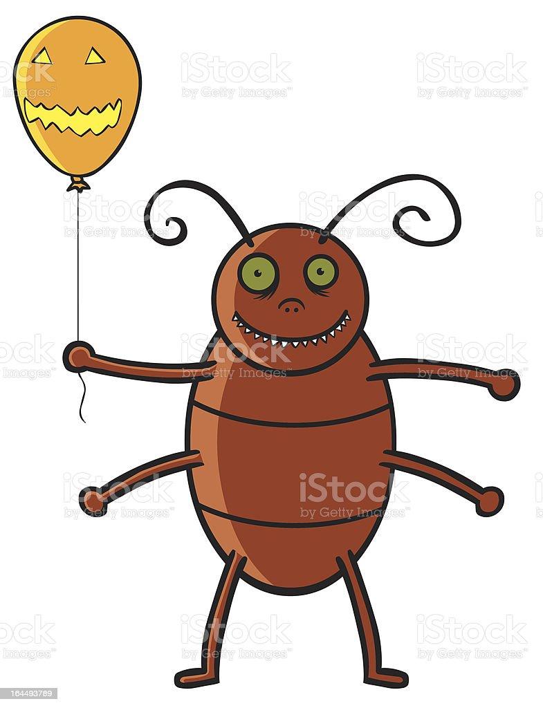Cockroach holding Halloween ballon vector art illustration