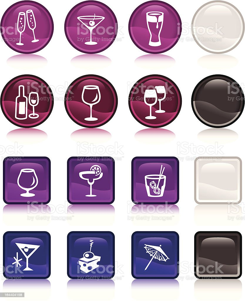 Cocktail icons candy buttons vector art illustration