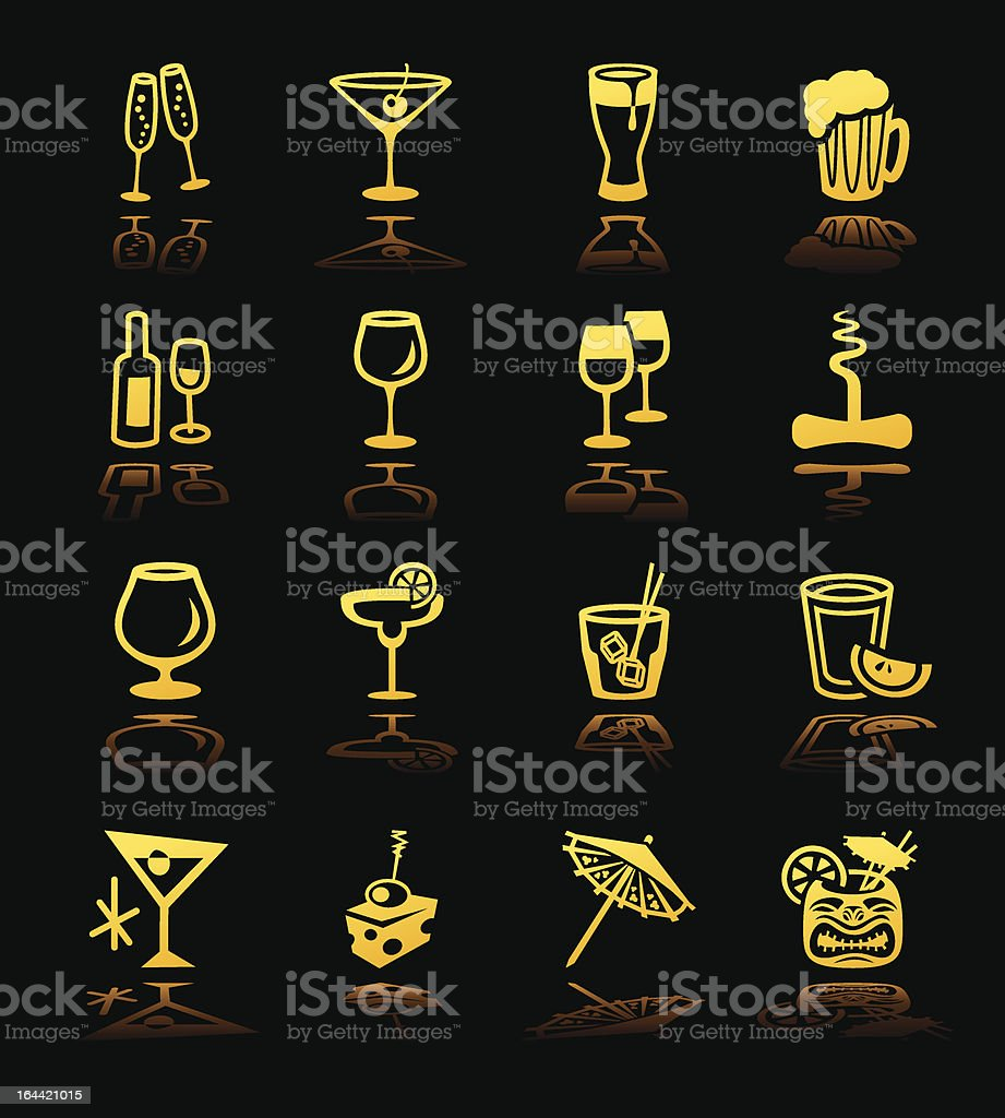 Cocktail Icons Hi Contrast vector art illustration