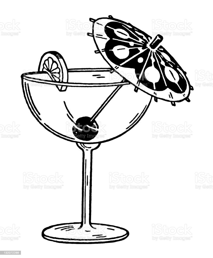 Cocktail With Umbrella vector art illustration