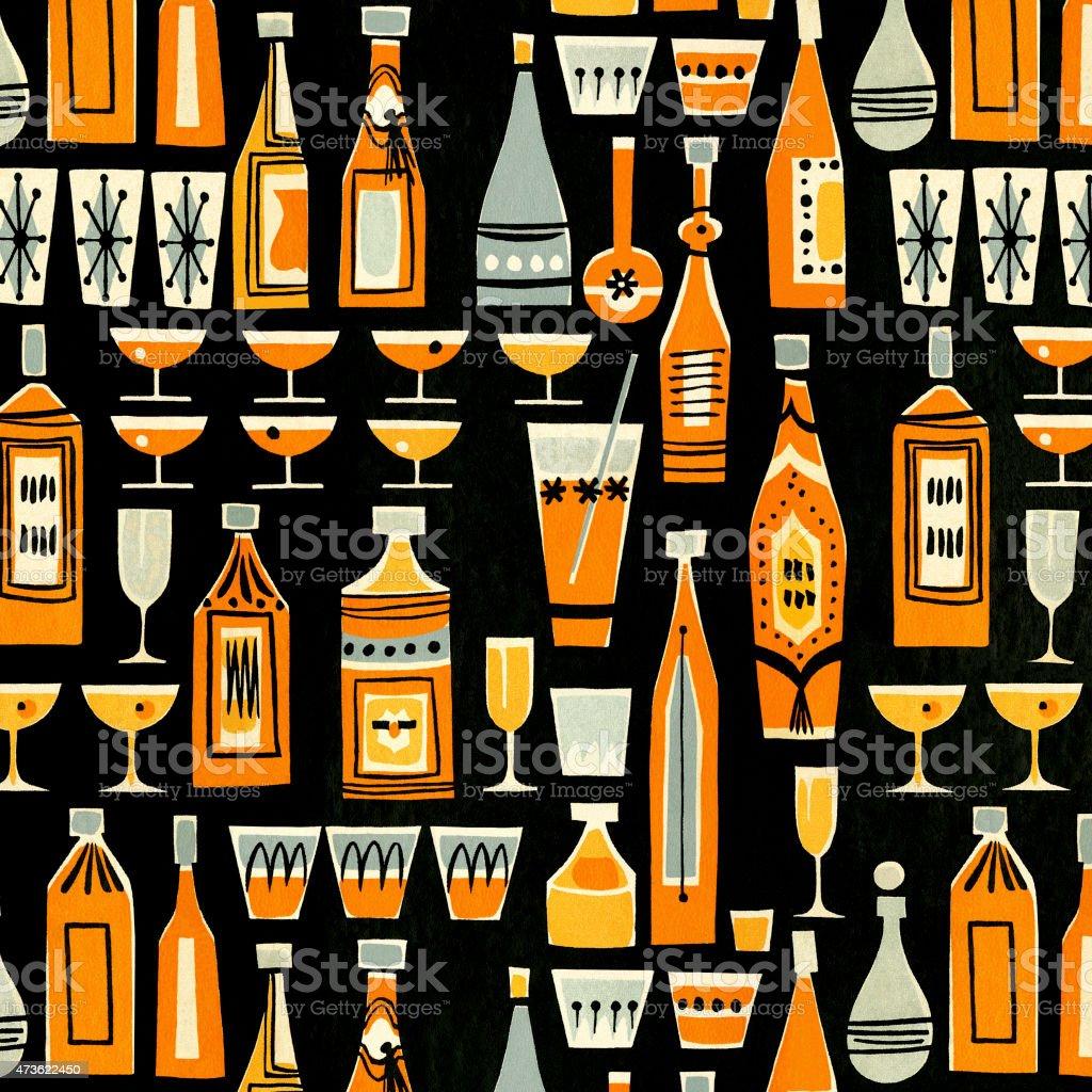 Cocktails and Liquor Bottle Pattern vector art illustration
