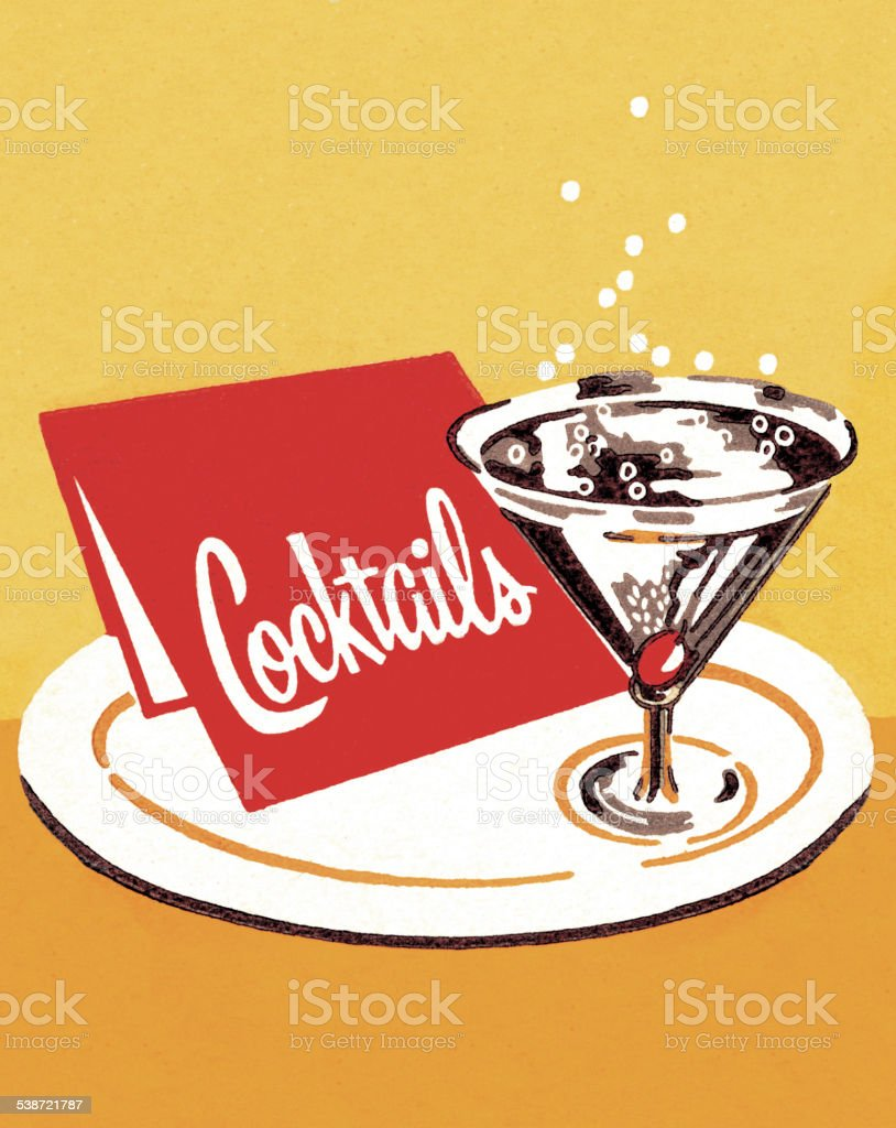 Cocktails on a Tray vector art illustration
