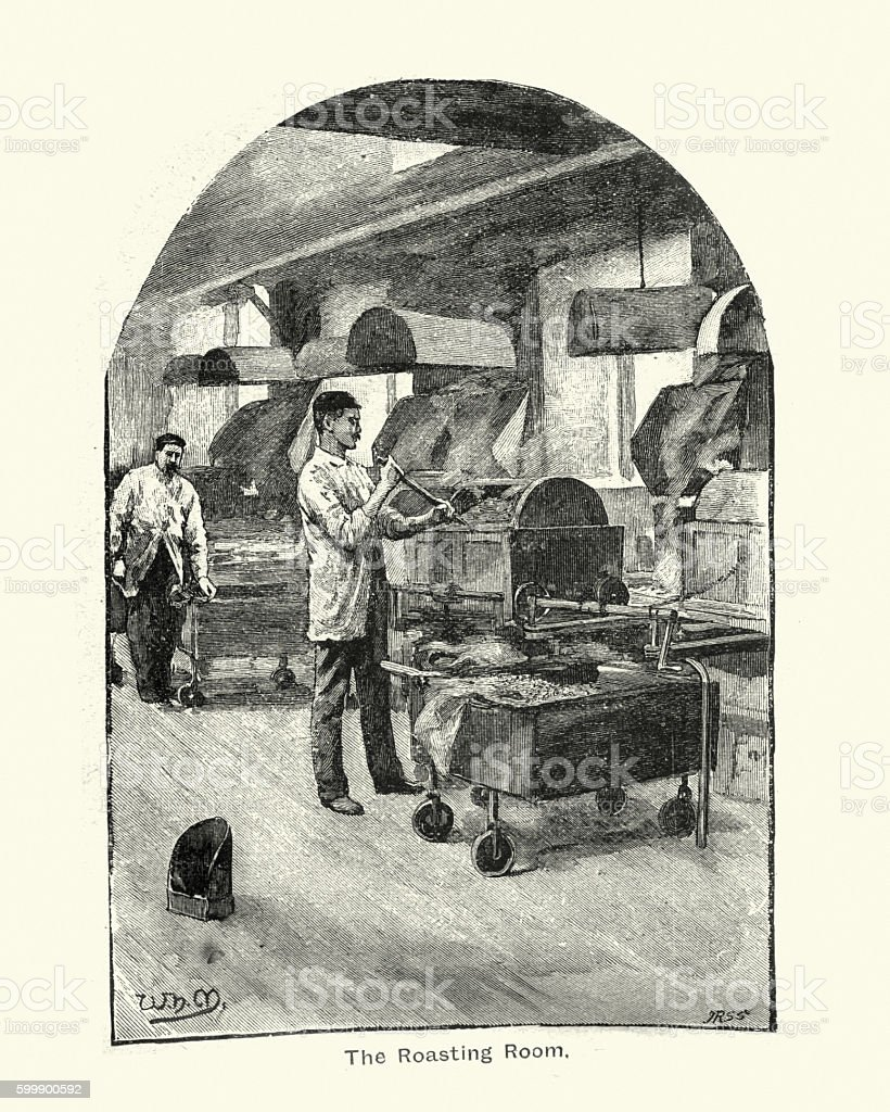 Cocoa Roasting Room at Fry's Chocolate factory, 1894 vector art illustration