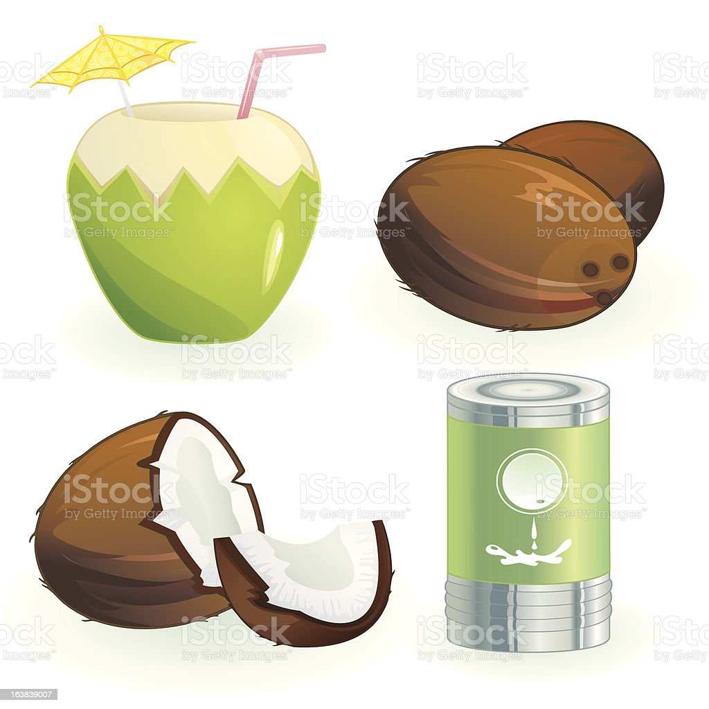 Coconut and products royalty-free stock vector art