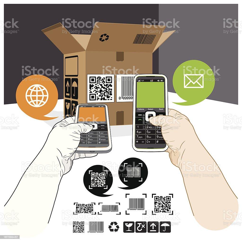 QR Code & Barcode label mobile scanning vector art illustration