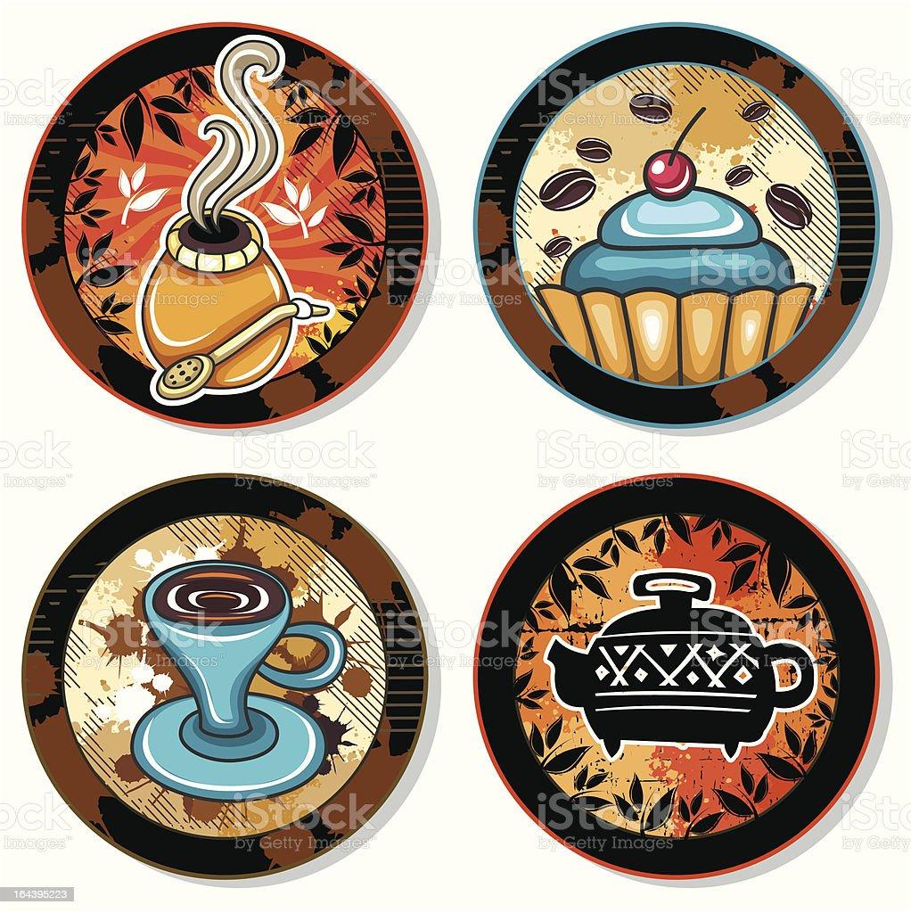 Coffe, tea, yerba mate, drink coasters 3 royalty-free stock vector art