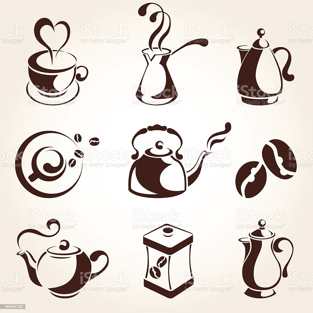 coffee and tea icons royalty-free stock vector art