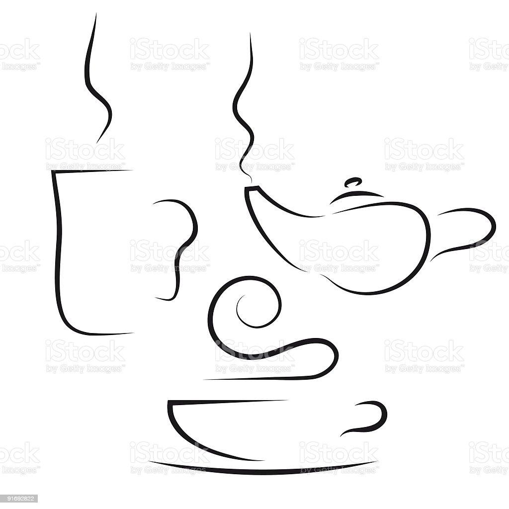 coffee and tea set royalty-free stock vector art