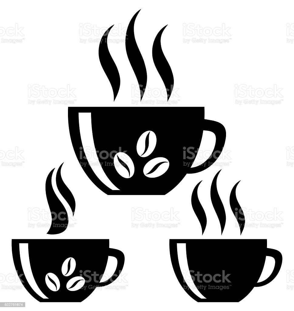 Coffee cups. Silhouette. Isolated vector art illustration