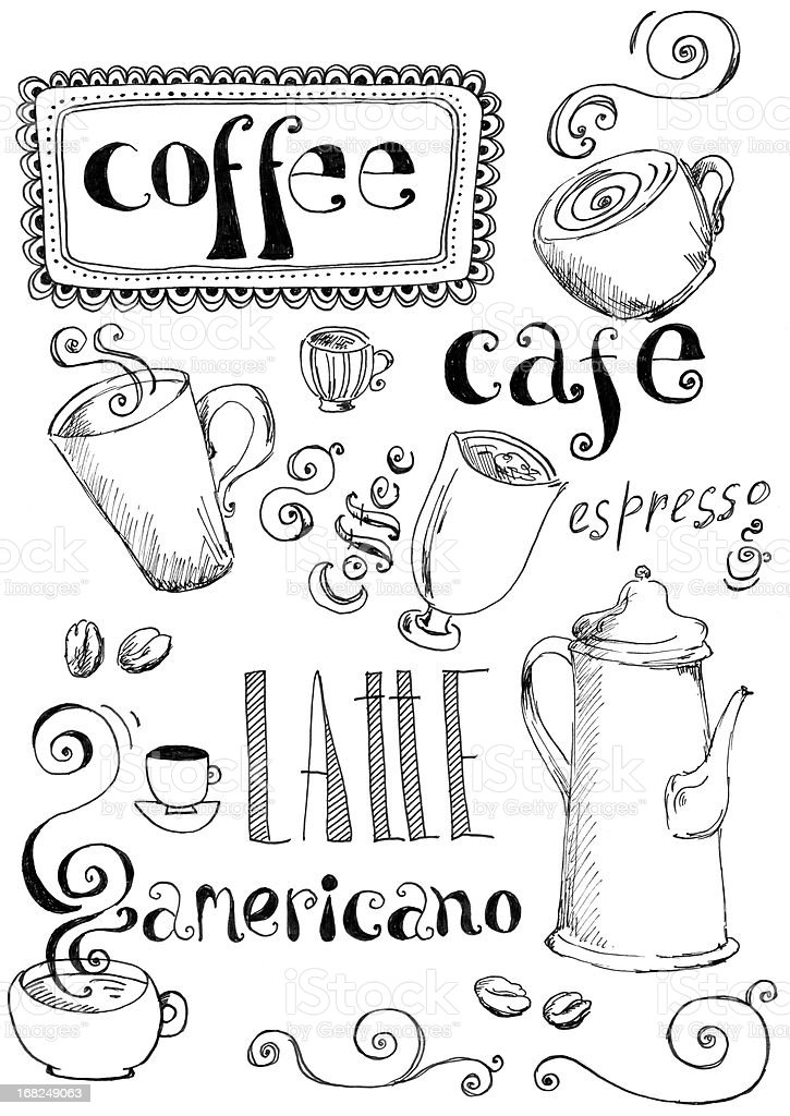 Coffee doodles vector art illustration