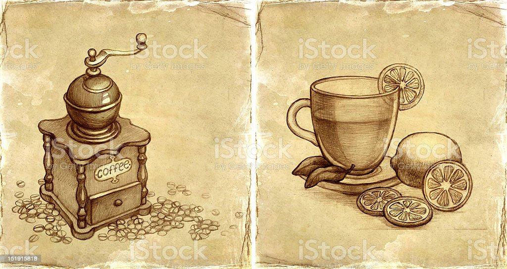 Coffee grinder and cup of tea with lemon royalty-free stock vector art