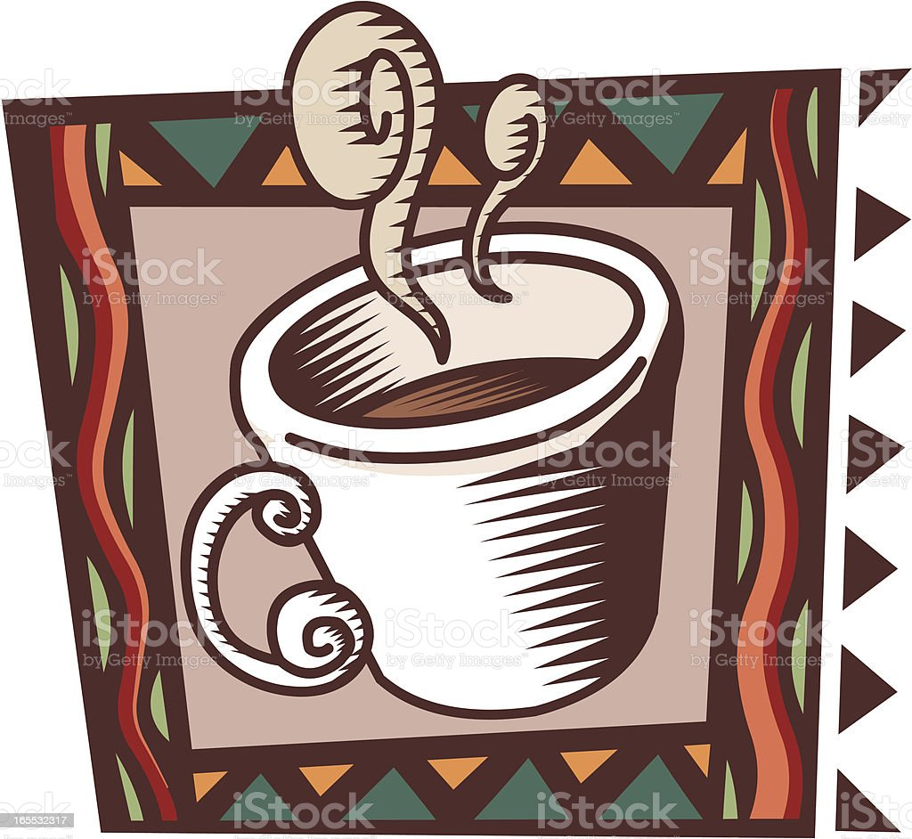 Coffee icon woodcut style royalty-free stock vector art